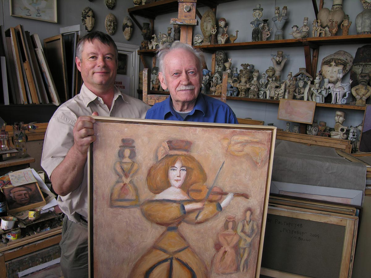 Nigel with Evgeny Rastorguev in his studio