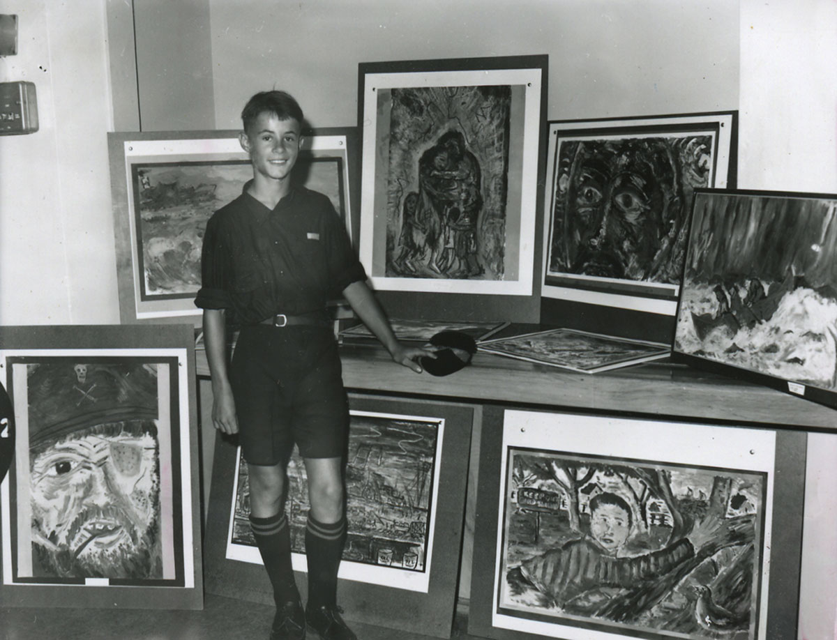 Nigel with paintings at Tauranga Public Gallery Exhibition