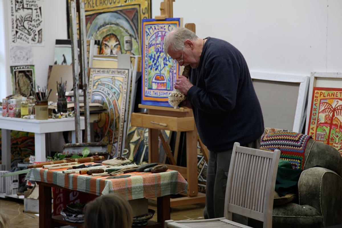 Richard Nunns performs in studio